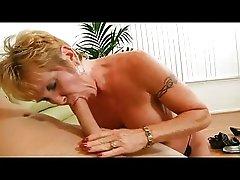 Pierced Granny in Stockings Fucks