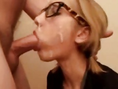 girl with glasses, 3 facials, gagging and deepthroat
