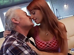 Old Man Falls In Love With Beautiful Young Redhead and Fucks Her Pussy