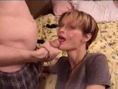 Elegant shorthaired mature blowjob and facial