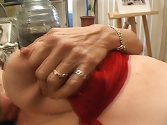 Sexy young redhead strap-on fucks her mature lesbian lover