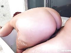 Huge Tit MILF Sara Star Rides Huge Cock in Tub