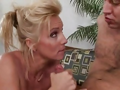 Blonde big tits mature milf with long legs