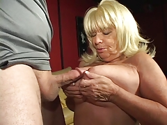 Blonde mature cock sucking granny enjoys a cigarette and a hard dick