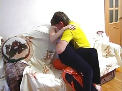 Boy fuck Russian mature mother at home