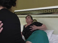Lesbian home story with granny and mature moms