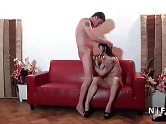 Horny small titted french mature hard anal fucked