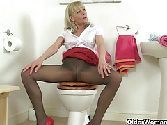 British milfs Molly and Elaine having fun in the bathroom