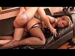 Nasty lesbian duo in heels lick each other's moist clits then dildo pump wildly