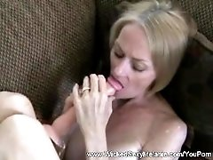 Amateur GILF Rubs And Cumshot