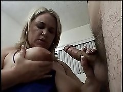 Chunky blonde with big tits gives young dude expert rub-n-tug