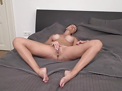 MILF Natalya takes shower and playing with pussy