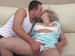 Taboo sex with mature hairy mother and son